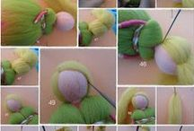 Needle felted angel/fairy tutorial / This angel/fairy is without legs. A very good tutorial to nice round tips of the hands. Start at the middle and row the wool to the end of pipe cleaner, then twist the tip of it little and continue rowing the wool next end, returning to the middle..