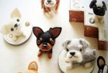 Needle felt dogs made of wool japanese craft book / I NOTICED THAT THESE PICS HAS TAKEN FROM EBAY SO THERE'S NOT GONNA BE MORE :(  Link: http://www.flickr.com/photos/feltcafe/sets/72157626207715576/
