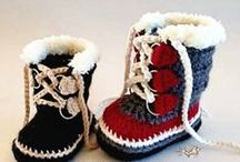 Crochet - knitted baby booties, socks, sandals