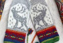 Crochet-knitted mittens/fingerles gloves