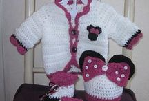 Crochet-knitted baby outfit sets
