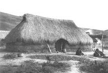 Vestimenta y habitación Mapuche / La ruca Mapuche cumple tres funciones: dormir, cocinar y guardar. Su estructura está basada en dos maderos de árboles nativos, techumbre y paredes de tejido de fibras vegetales protección de húmedad. Su acceso está orientado hacia el nacimiento del sol.  La vestimenta de mujer,se complementa con adornos de plata, en el hombre hasta el siglo pasado, una chiripa, tela que cubría desde la cintura hasta las rodillas. Actualmente,se complementan con una camisa y un poncho confeccionado en el telar.