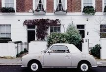 Cute Cars in London / The sweetest vintage cars, in front of the sweetest houses.