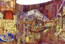 Interiors & Restaurants in Rome - Sketches
