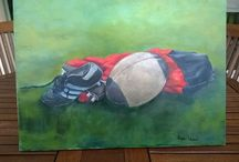 Nature morte rugby / Huile sur toile