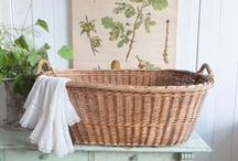 Baskets / Baskets are great for storage and as decorations. I've pinned some new ones too but actually prefer the vintage ones - metal / wire baskets that show some rust or bleached out wicker baskets.