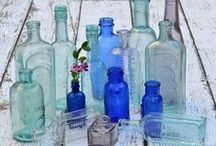 Bottles, Jars & Cloches / Altered bottles and jars as well as pretty vintage or antique glass finds like apothecary bottles and other lovely pieces.