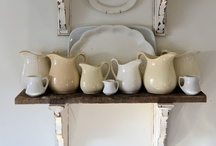 Ironstone / Stored in an open shelf or a glass cabinet, white plates, bowls, jugs, mugs, cups, tureens, sauce boats etc. can be very decorative. I especially love vintage ironstone / ceramic / crockery and don't mind when the pieces are a bit chippy here and there.