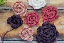 Crochet flowers and hearts