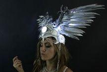 LED Headpieces / Light up Head-dresses, pieces and headbands. LED Headpiece, Glowing Headdress, Light up Hat, Illuminated Head