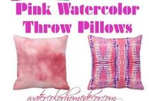 Pink and Purple Watercolor Throw Pillows