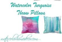 Turquoise watercolor throw pillows / Teal, aqua and turquoise complements any decor with a ocean or nautical theme. Looking for throw pillows that match your style? Here is some excellent brushwork by fellow Zazzlers.