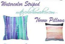 Watercolor Striped Throw Pillows