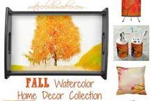 Fall Home Decor / Fall Watercolor Home Decor Collection.