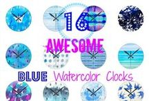 Blue Watercolor Wall Clocks / Looking for blue wall clocks to complement your decor? Consider these delightful decor pieces in various shades of blue as you look for the perfect matching piece.