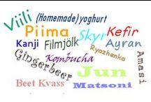 Kefir, Kombucha, Jun, Viili, Filmjölk, Piima, Matsoni, Ayran, Ryazhenka, Beet Kvass en Yoghurt / Kefir, Kombucha en Jun.  Viili, Filmjölk, Piima en Matsoni.  Ayran en Ryazhenka.  Beet Kvass en (homemade) Yoghurt.