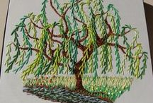 "Embroidery ""trees"". / Trees that have been stitched or crafted in some form or other. / by Donna Harris"