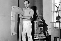 ISAMU NOGUCHI / Isamu Noguchi, (November 17, 1904 – December 30, 1988) was a prominent Japanese American artist and landscape architect whose artistic career spanned six decades, from the 1920s onward. Known for his sculpture and public works, Noguchi also designed stage sets for various Martha Graham productions, and several mass-produced lamps and furniture pieces, some of which are still manufactured and sold.