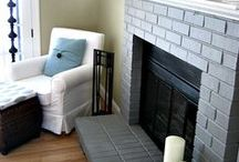 Grey Painted Brick Fireplaces / Fireplaces painted light gray or dark gray.