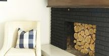 Painted Black Brick Fireplaces / Fireplaces that have been paint black for a bold, dramatic look!