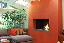 Bold Fireplace Colors / Bold Colored Painted Fireplaces