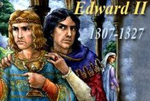 UK_History_Edward II / monarchy, royals, king and queens, prince and princess, aristocracy, nobility... 1307-1327 Edward II (Edward of Caernarfon; first English Prince of Wales); House of Plantagenet. father (predecessor): King Edward I (Edward Longshanks, Hammer of the Scots). mother: Eleanor of Castile. wife: Isabella of France. successor (son): Edward III. as well as: Piers Gaveston, 1st Earl of Cornwall (favourite+may be lover of Edward II); Roger Mortimer (lover of Queen Isabella) / by alienora