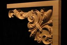 Carved Fleur De Lis / The form has been stylized into many derivations and a few are offered here as onlays, blocks and scroll works.