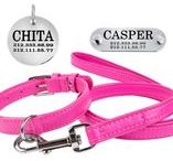 Flat Dog Leather Collar and Leash Set / A collar and a leash are soft padded. A leash length is 4 feet or 122 cm.