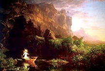 Thomas Cole (1801-1848) / Founder of the Hudson River School of American art. His: The Voyage of Life series, painted in 1842, is a series of paintings that represent an allegory of the four stages of human life: childhood, youth, manhood, and old age. The paintings follow a voyager who travels in a boat on a river through the mid-19th century American wilderness. In each painting, accompanied by a guardian angel, the voyager rides the boat on the River of Life. / by Thomas Jay Kemp