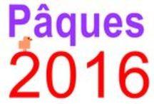 PAQUES 2016 / Dessins pour illustrer PAQUES 2016. Texte écrit en grandes lettres.