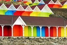 Beside the seaside / a house beside the sea, nautical decorating, mermaids, shells, beach sand & blue.