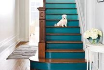"""STUNNING STAIRCASES / Time-tested trend: Painted, decorated stairs add so much interest to a space.  We love seeing just how many """"step by step possibilities there are!"""""""