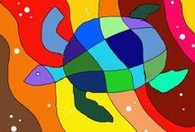 """Abstrakte Kunst / Das Wort abstrakt kommt von dem Lateinischen """"abstractus"""" und bedeutet """"abgezogen"""". Es bezeichnet das Weglassen von Einzelheiten und soll zu etwas Allgemeinerem und Einfacherem führen. Wassily Kandinsky soll 1910 das erste abstrakte und gegenstandslose Bild gemalt haben. Auch Kinder können abstrakte Bilder malen."""