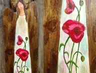 Angels on wood / Angel paintings on reclaimed wood. / Anioły malowane na starych deskach.