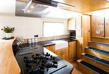 Narrowboat & Canal Boat Galleys / Worktops, sinks, ovens, cupboards....everything you need in your narrowboat, Dutch barge or wide beam canal boat kitchen. Or to be more precise...your galley!