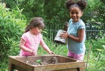 """Dirt and Sand Play / """"Fewer and fewer children have the opportunity to spend time simply digging in the dirt anymore.  Experiencing the rich feeling and aroma of soil can be calming and beneficial to children, as well as adults.""""- From the Learning with Nature Idea Book"""