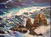 """' Student Gallery Masterclass / Students who have taken the journey of painting waves, water and surf.. and sent me their new masterpieces.....from the on line series """"waves and water Masterclass"""" www.gingercooklive.gallery"""