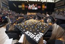 "Grad Hats / Our KSU graduates get creative when it comes to their ""Big Day"". From rhinestones to medical tape and everything in between, these folks know how to stand out in a crowd."