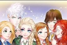 The Big Four / RotBTD, Rotg, Jack Frost, Rapunzel, Mérida, Hiccup, Jackunzel, Mericcup y varios más