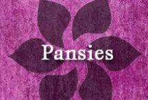 Gumpaste-Fondant Pansies (Violas) / A Collection of Gumpaste-Fondant Pansy Flowers (Violas)
