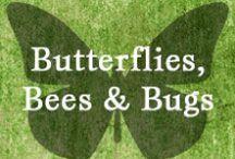 Gumpaste-Fondant Butterflies, Bees & Bugs / Assorted Butterflies, Bees, Bumble Bees and Bugs Made From Gumpaste-Fondant