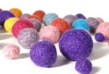 Felt beads / knitting patterns to use up your yarn stash by making felted beads and lots of ideas for jewelry using knitted or wet felted beads / by Claire Fairall Designs