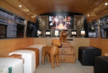 JUSTSO & MCM : The Interior of the Bus / Just So art directed and project managed the creation of a souped up old bus, with monogrammed exterior, plush carpeting, glass presentation cases, a dancing pole and a champagne bar for MCM.  These are images of the finished product!