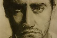 art portrait, graphic, drawing / Portraits of famous people. Graphite,paper