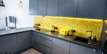 Realizacja wnętrza kuchni z żółtym akcentem / http://www.lillet.pl/