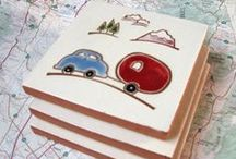 "Handmade Tiles-Road Trip Theme / These handmade cermaic tiles celebrate the joys of ""The Road Trip"" with 4x4"" handcarved and painted white and terracotta tiles."