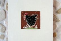 Chicken Tile Art / Handmade tiles with chicken images. Mostly ceramic. / by Red Step Studio