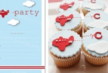 Aeroplane Party / Decorate with powder blue, red and white partyware. Lots of helium balloons and white fairy floss to add to a floaty atmosphere.