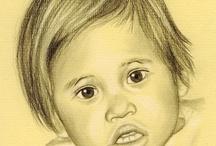 Portraits crayon, sanguine, fusain