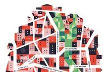 Illustrated maps of the word / Carte et plan de pays et de villes. Infographie cartographique une nouvelle façon de décrire le monde Londres Madrid Paris Berlin - Uk France Espagne Italie Portugal Amérique latine Allemagne  Cartographie numérique